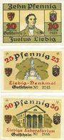 Banknotes Gießen Gibana (Giessener Briefmarken-Ansichtskarten- und Notgeld-ausstellung) Billets. 10, 25, 50 pf