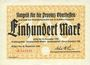 Banknotes Gießen. Provinzialkasse Gießen. Billet. 100 mark 30 sept 1922
