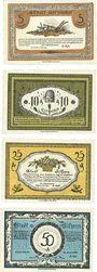 Banknotes Gifhorn. Stadt. Série de 4 billets. 5 pf, 10 pf, 25 pf, 50 pf 1.6.1921