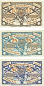 Banknotes Gilgenburg (Dabrowno, Pologne). Stadt. Série de 3 billets. 10 pf, 25 pf, 50 pf 1.10.1920