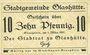 Banknotes Glashütte. Stadt. Billet. 10 pf 1.3.1917