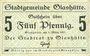 Banknotes Glashütte. Stadt. Billet. 5 pf 1.3.1917