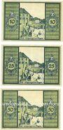 Banknotes Glatz (Klodzko, Pologne). Stadt. Billets. 10 pf, 25 pf, 50 pf (mai 1921), R/ vert clair