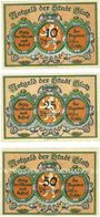 Banknotes Glatz (Klodzko, Pologne). Stadt. Billets.10 pf, 25 pf, 50 pf (mai 1921), revers gris-bleu