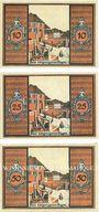 Banknotes Glatz (Klodzko, Pologne). Stadt. Billets. 10 pf, 25 pf, 50 pf (mai 1921), revers rouge orangé