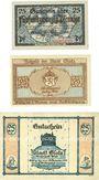 Banknotes Glatz (Klodzko, Pologne). Stadt. Billets. 25 pf 19,4,1919, 25 pf (1920), 25 pf (oct 1921)