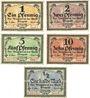Banknotes Glogau (Glogow, Pologne). Stadt. Billets. 1 pf, 2 pf, 5 pf, 10 pf série I, 1/2 mark série II (1916)