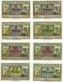 Banknotes Glogau (Glogow, Pologne). Stadt. Billets. 1 pf (3 var), 5 pf, 10 pf (2 var), 25 pf, 1/2 mark (1919)