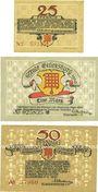 Banknotes Glüksburg. Stadt. Billets. 25 pf, 50 pf 1920 ; 50 pf 17.6.1920