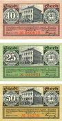 Banknotes Goch. Stadt. Série de 3 billets. 10 pf, 25 pf, 50 pf 1.1.1921, série A