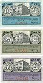 Banknotes Goch. Stadt. Série de 3 billets. 10 pf, 25 pf, 50 pf 1.6.1921, série B