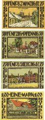Banknotes Goldap (Goldap, Pologne). Kreis. Série de 4 billets. 25 pf, 50 pf, 75 pf, 1 mark (1921)