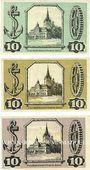 Banknotes Gollnow (Goleniow, Pologne). Stadt. Série de 3 billets. 10 pf (3 ex) 15.2.1921