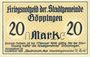 Banknotes Göppingen. Stadt. Billet. 20 mark nov. 1918, annulation par perforation UNGULTIG