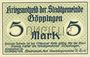 Banknotes Göppingen. Stadt. Billet. 5 mark nov. 1918, annulation par perforation UNGULTIG