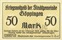 Banknotes Göppingen. Stadt. Billet. 50 mark nov. 1918, annulation par perforation UNGULTIG