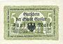 Banknotes Goslar. Stadt. Billet. 5 mark 1.11.1918