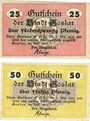 Banknotes Goslar. Stadt. Billets. 25 pf, 50 pf mai 1917