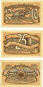 Banknotes Goslar. Stadt. Série de 3 billets. 10 pf, 25 pf, 50 pf déc. 1918