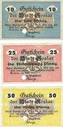 Banknotes Goslar. Stadt. Série de 3 billets 10 pf, 25 pf, 50 pf mai 1917