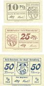 Banknotes Gottesberg (Boguszow, Pologne). Stadt. Billets. 10 pf, 25 pf, 50 pf (1917)