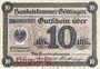 Banknotes Göttingen. Handelskammer. Billet. 10 mark 9.10.1918, annulation par cachet Ungültig