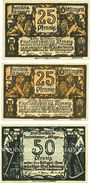 Banknotes Göttingen. Handelskammer. Billets. 25 pf (2 variantes de couleur), 50 pf 19.11.1920