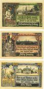 Banknotes Grabow. Stadt. Série de 3 billets. 25 pf, 50 pf, 1 mark (1921)