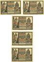 Banknotes Gransee. Stadtsparkasse. Billets. 25 pf, 50 pf, 75 pf, 1,25 mark, 1,75 mark