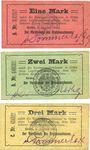 Banknotes Grätz (Grodzisk Wielkopolski, Pologne). Kreisausschuss. Billets. 1, 2, 3 mark 8.8.1914