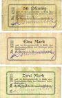 Banknotes Grätz (Grodzisk Wielkopolski, Pologne). Kreisausschuss. Billets. 50 pf, 1mk, 2 mark n.d. - 1.1.1915