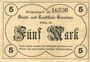 Banknotes Graudenz (Grudziadz, Pologne). Stadt. Billet. 5 mark 21.10.1918