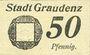 Banknotes Graudenz (Grudziadz, Pologne). Stadt. Billet. 50 pf 15.12.1917