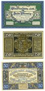 Banknotes Greiffenberg (Gryfow Slaski, Pologne). Stadtsparkasse. Billets. 10 pf, 25 pf, 50 pf 19.4.1920