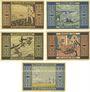 Banknotes Greiffenberg (Gryfow Slaski, Pologne). Stadtsparkasse. Billets. 30 pf, 60 pf, 1, 3, 5 mark 192-