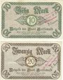 Banknotes Greifswald. Stadt. Billets. 10 mark, 20 mark 25/31.10.1918