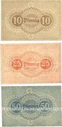 Banknotes Greiz. Greizer Bankverein. Série de 3 billets. 10, 25, 50 pfennig 1.1.1917