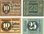Banknotes Grimma. Amtshauptmannschaft. Billets. 10, 25 pf 4.11.1918, 10, 25 pd 1.12.1920