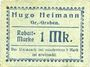 Banknotes Groß-Graben. Hugo Heimann. Kolonialwaren. Billet. 1 mark, cachet au dos : Postscheckkonto Breslau