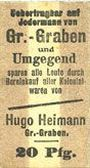 Banknotes Groß-Graben. Hugo Heimann. Kolonialwaren. Billet. 20 pf