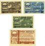 Banknotes Groß-Wirschleben. Gemeinde. Série de 4 billets. 25 pf, 50 pf, 75 pf, 1 mark 1.9.1921