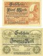 Banknotes Großenhain. Amtshauptmannschaft. Billets. 5 mark, 20 mark 1.11.1918