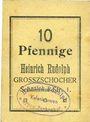 Banknotes Grosszschocher. Heinrich Rudolph. Kolonialwaren. Billet. 10 pfennig