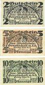 Banknotes Grube Ilse. Ilse - Wohlfahrstgesellschaft m.b.H. Billets. 2 pf, 5 pf, 10 pf (1921)