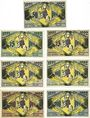 Banknotes Grünberg. Stadt. Série de 7 billets. 50 pf, 75 pf (2ex), 1 mark (2ex), 2 mark (2ex) 9.3.1922