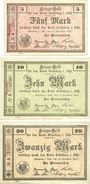Banknotes Grünberg (Zielona Gora, Pologne). Stadt. Billets. 5, 10, 20 mark 14.11.1918, cachet Ungültig