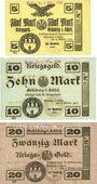 Banknotes Grünberg (Zielona Gora, Pologne). Stadt. Série de 3 billets. 5, 10, 20 mark 8.10.1918