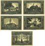 Banknotes Grünberg (Zielona Gora, Pologne). Stadt. Série de 5 billets. 25, 50, 75 pf, 1 mark, 1,5 mark (1922)