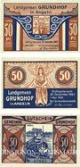 Banknotes Grundhof in Angeln. Gemeinde. Série de 3 billets. 50 pf (3ex) 1.4.1920