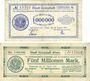 Banknotes Grünstadt. Stadt. Billets. 1 million, 5 millions mark 10.8.1923